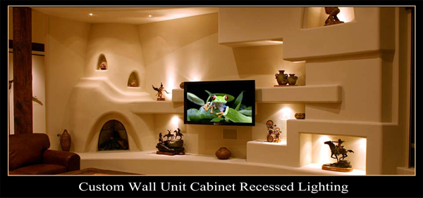 Cabinet Lighting Installation, Recessed Lighting Installation, Custom Wall Unit Recessed Lighting,Wall Unit Recessed Lighting, Small Cabinet Pocket Lights, Track Lighting, Electrical Contractor, Electrician Mesa, Mesa Az Electrician